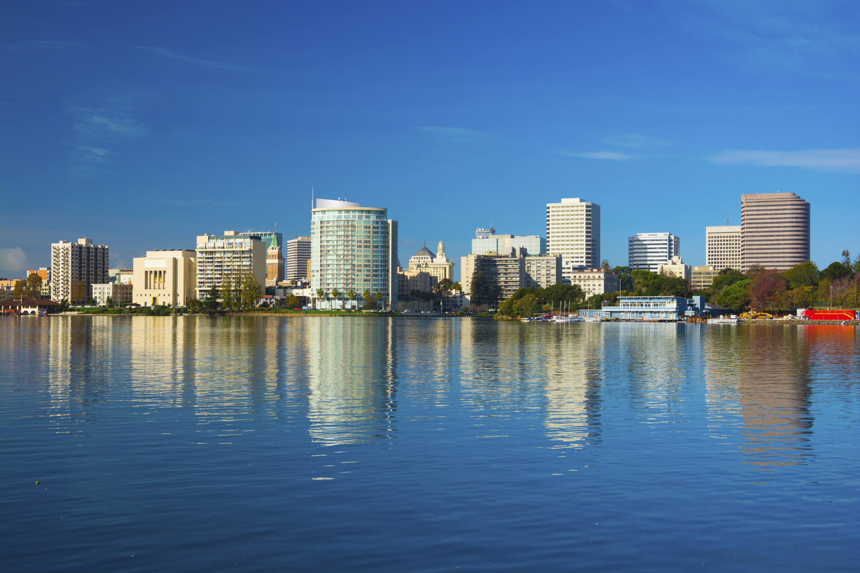 Oakland Skyline with Reflection on Lake Merritt